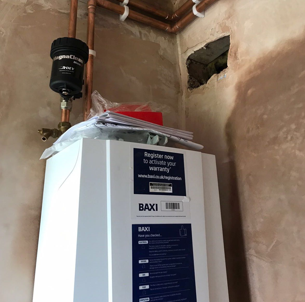 combi boiler installation by our gas engineer in Hanbury